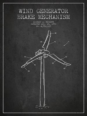 Wind Generator Break Mechanism Patent From 1990 - Dark Art Print by Aged Pixel