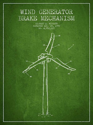 Wind Generator Break Mechanism Patent From 1990 - Green Art Print by Aged Pixel