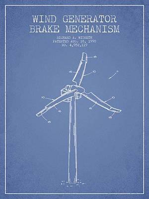 Wind Generator Break Mechanism Patent From 1990 - Light Blue Art Print by Aged Pixel