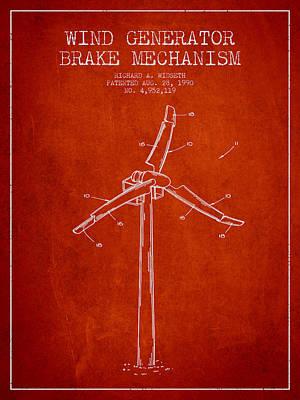 Wind Generator Break Mechanism Patent From 1990 - Red Art Print by Aged Pixel