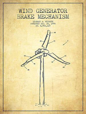 Wind Generator Break Mechanism Patent From 1990 - Vintage Art Print by Aged Pixel