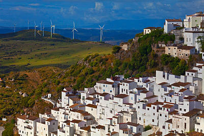 Casares Photograph - Wind Generators Beyond The Village by Panoramic Images