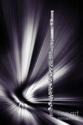 Jazz Digital Art - Wind Instrument Music Flute Photograph In Sepia 3301.01 by M K  Miller