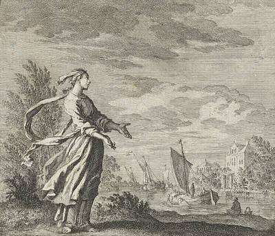 Fluttering Drawing - Wind, Jan Luyken by Jan Luyken