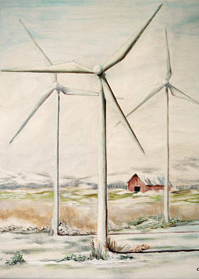 Painting - Wind Mills In Snow Country by Catherine Link
