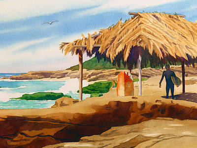 Shack Painting - Wind 'n Sea Beach La Jolla by Mary Helmreich