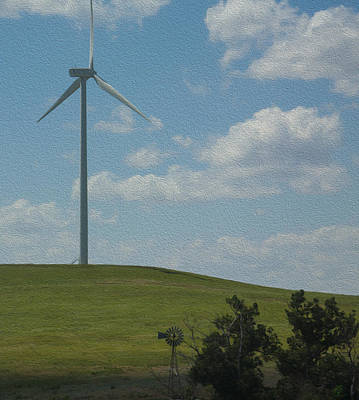 Photograph - Wind Power Old Meets New Oil Painting by Chris Thomas