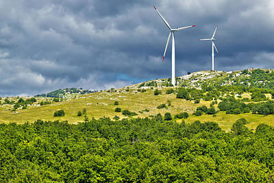 Photograph - Wind Power Plant Turbines On Velebit Mountain by Brch Photography