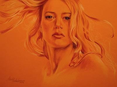 Wind. Study Of Female Head And Hair. Art Print