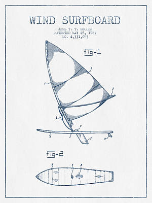 Wind Surfboard Patent Drawing From 1982  -  Blue Ink Art Print by Aged Pixel