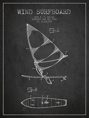 Technical Digital Art - Wind Surfboard Patent Drawing From 1982 - Dark by Aged Pixel