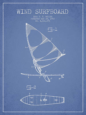 Wind Surfboard Patent Drawing From 1982 - Light Blue Print by Aged Pixel