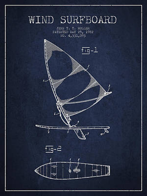 Wind Surfboard Patent Drawing From 1982 - Navy Blue Print by Aged Pixel