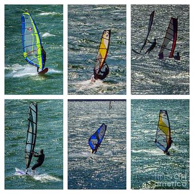 Photograph - Wind Surfers Collage by Susan Garren