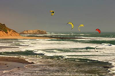 Wind Surfing Santa Cruz Coast Art Print by Tom Norring