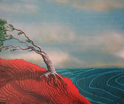 Sea Wall Art - Painting - Wind Swept Tree by Joan Stratton