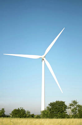 Wind Turbine And Blue Sky Art Print by Jesper Klausen / Science Photo Library