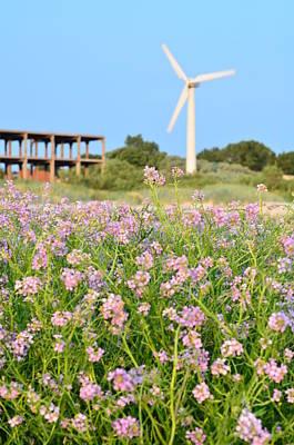 Wind Turbine And Flowers Art Print by Gynt