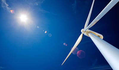 Wind Turbine And Sun  Art Print by Johan Swanepoel