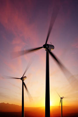 Wind Turbine Blades Spinning At Sunset Print by Johan Swanepoel