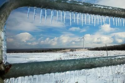 Wind Turbine In Winter Art Print