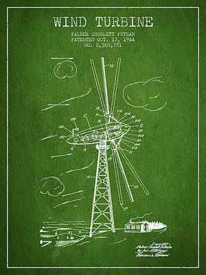 Renewable Energy Digital Art - Wind Turbine Patent From 1944 - Green by Aged Pixel