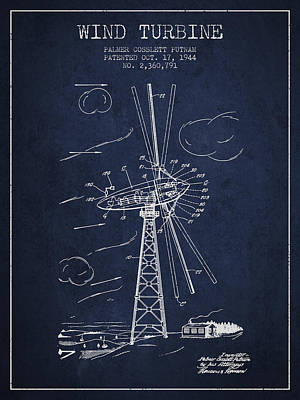 Renewable Energy Digital Art - Wind Turbine Patent From 1944 - Navy Blue by Aged Pixel