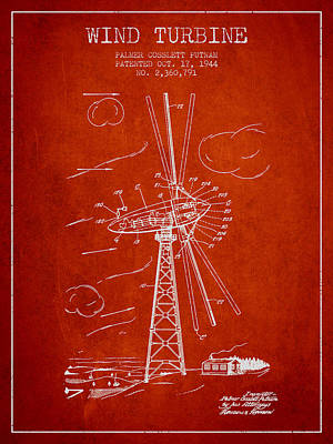 Renewable Energy Digital Art - Wind Turbine Patent From 1944 - Red by Aged Pixel