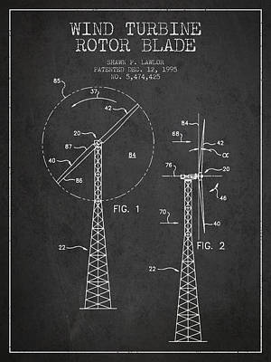 Renewable Energy Digital Art - Wind Turbine Rotor Blade Patent From 1995 - Dark by Aged Pixel