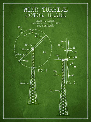 Renewable Energy Digital Art - Wind Turbine Rotor Blade Patent From 1995 - Green by Aged Pixel