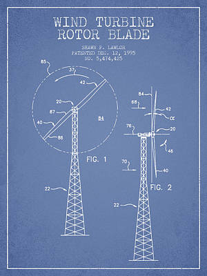 Wind Turbine Rotor Blade Patent From 1995 - Light Blue Art Print by Aged Pixel