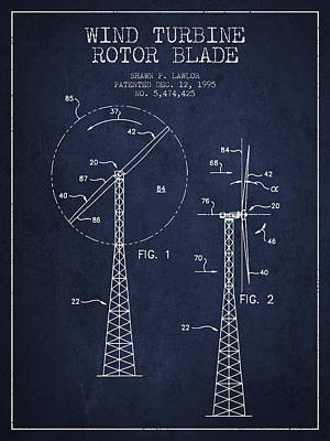 Modern Feathers Art - Wind Turbine Rotor Blade Patent from 1995 - Navy Blue by Aged Pixel