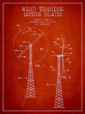 Wind Turbine Rotor Blade Patent From 1995 - Red Art Print by Aged Pixel