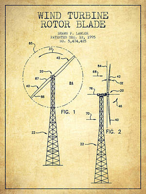 Wind Turbine Rotor Blade Patent From 1995 - Vintage Art Print by Aged Pixel
