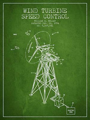 Wind Turbine Speed Control Patent From 1994 - Green Art Print
