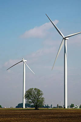 Agricultural Industry Wall Art - Photograph - Wind Turbine With Missing Blade by Jim West