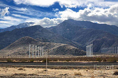 Photograph - Wind Turbines And Railway In Southern California by Charline Xia