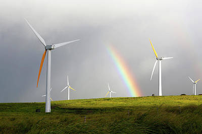 Wind Turbines And Rainbow Art Print by Michael Szoenyi