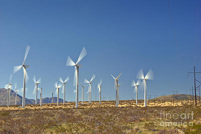 Photograph - Wind Turbines Green Energy Field by David Zanzinger