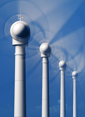 Group Digital Art - Wind Turbines In Motion From The Front by Johan Swanepoel