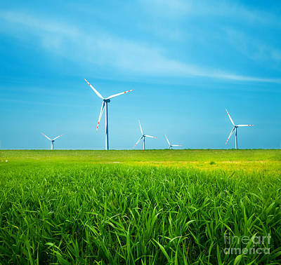 Backgrounds Photograph - Wind Turbines On Green Field by Michal Bednarek