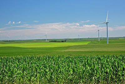 Wind Turbines On Nebraska Farm Art Print