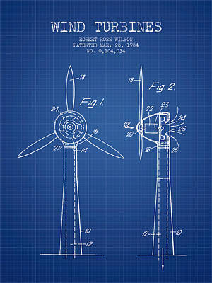 Renewable Energy Digital Art - Wind Turbines Patent From 1984 - Blueprint by Aged Pixel