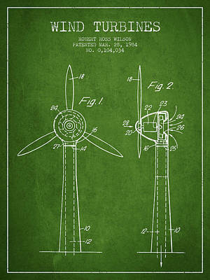 Renewable Energy Digital Art - Wind Turbines Patent From 1984 - Green by Aged Pixel