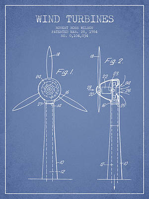 Renewable Energy Digital Art - Wind Turbines Patent From 1984 - Light Blue by Aged Pixel