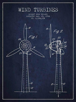 Renewable Energy Digital Art - Wind Turbines Patent From 1984 - Navy Blue by Aged Pixel
