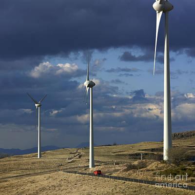 Technical Photograph - Wind Turbines. Region Auvergne. France by Bernard Jaubert