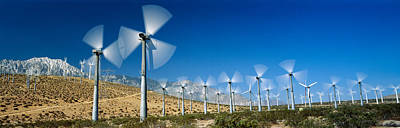 Spring Scenes Photograph - Wind Turbines Spinning In A Field, Palm by Panoramic Images