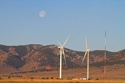 Full Moon Photograph - Wind Turbines With A Full Moon And Blue Skies by James BO  Insogna