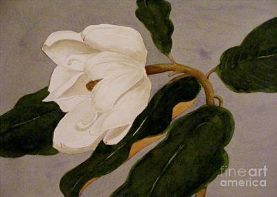 Art Print featuring the painting Windblown Magnolia by Nancy Kane Chapman